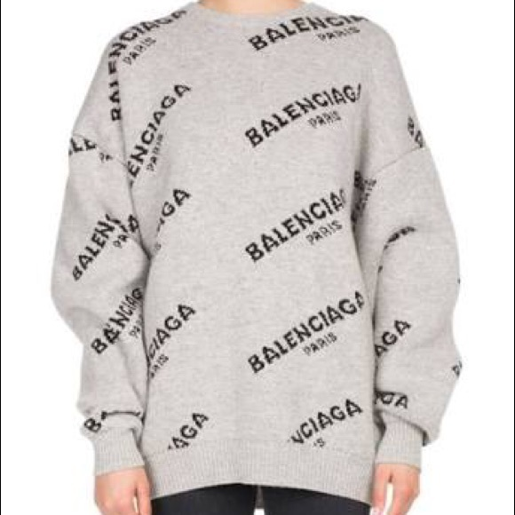 d44c1cc842fd7 Balenciaga Jacquard logo sweater